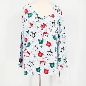 Sleep Sense Hot Cocoa Holiday Pajama Shirt Top Red